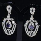 Purple Drop Floral Leaf Lace Pierced Dangle Earring Swarovski Crystals
