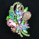"""Chic Flower Brooch Pin 3.5"""" W/ Multicolor Rhinestone Crystal"""