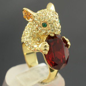 Vogue Yellow Mouse Cocktail Ring US:6#,UK: L 1/2 W/ Red Swarovski Crystals