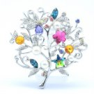"Multicolor Faux Pearl Flower Brooch Broach Pin 2.3"" W/ Rhinestone Crystal"