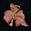 "Vintage Style Red Bowknot Flower Brooch Broach Pin 2.7"" W/ Rhinestone Crystals"