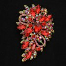 "Vintage Style Trendy Red Flower Brooch Broach Pin 3.3"" W/ Rhinestone Crystals"