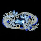 "Silver Tone Sea Blue Flower Brooch Broach Pin 4.1"" Rhinestone Crystals"
