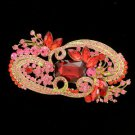"Vintage Style Red Flower Brooch Broach Pin 4.1"" W/ Rhinestone Crystals"