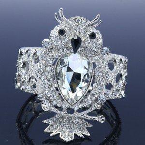 Chic Fashion Drop Rhinestone Crystals Animal Elastic Clear Owl Bracelet Bangle