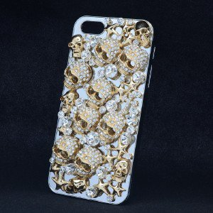 Gold Tone Starfish Skeleton Skull Cover Case Shell For Iphone 5 Clear Crystal