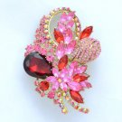 "Chic Fashion Red Flower Brooch Pin 3.5"" W/ Rhinestone Crystals"
