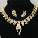 Multi Gold Tone Panther Leopard Necklace Earring Set W/ Clear Swarovski Crystals