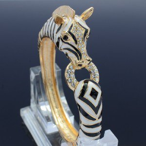 Gold Tone Clear Rhinestone Crystals Enamel Animal Horse Zebra Bracelet Brangle