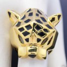 High Quality Gold Tone Cool Animal Leopard Panther Cocktail Ring w/ Green Eyes