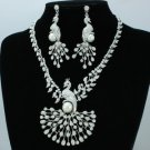 H-Quality Clear Pearl Peafowl Peacock Necklace Earring Set W/ Swarovski Crystals