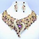 Gold Tone Purple Leaf Flower Necklace Earring Set W/ Rhinestone Crystals 02536