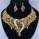 Gold Tone Brown Leaf Flower Necklace Earring Set W/ Rhinestone Crystals 02536