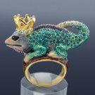 Crown Chameleon Gecko Lizard Cocktail Ring Size 7# W/ Blue Swarovski Crystals