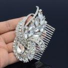 Chic Bridal Clear Flower Ribbon Drop Hair Comb Tiara Rhinestone Crystals