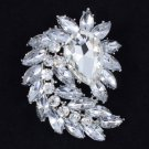 "Drop Bridal Flower Pendant Brooch Broach Pin 2.7"" W/ Clear Swarovski Crystals"
