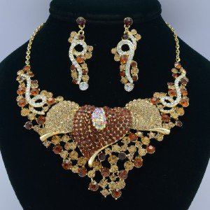 Brown Calla Flower Necklace Earring Set 02521 Rhinestone Crystals Vintage