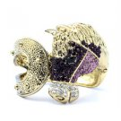 Rhinestone Crystals Vintage Style Purple Steed Horse Bracelet Bangle Cuff