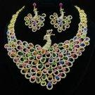 Swarovski Crystals Animal Multicolor Peafowl Peacock Necklace Earring Set Unique