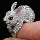Swarovski Crystals Silver Tone Clear Bunny Rabbit Cocktail Ring Sz 7# For Easter