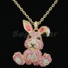 Swarovski Crystals High Quality Pink Bunny Rabbit Necklace Pendant SN2961