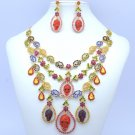 Skull Chokers Necklace Earring Set Multicolor Swarovski Crystal Day of the Dead