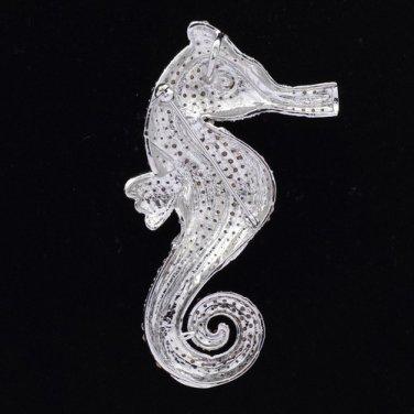 "Gorgeous Sea Horse Brooch Pin 3.6"" W/ Clear Rhinestone Crystals Animal"