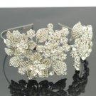 Silver Tone Tiara Bridal Flower Headband W/ Clear Swarovski Crystals For Wedding