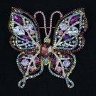 "Rhinestone Crystals Fashion Purple Butterfly Brooch Broach Pin 3.7"" 4920"