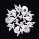 """Bridal Rhinestone Crystals Clear Floral Flower Brooch Pin 2.2"""" W/ Silver Tone"""