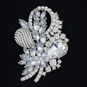 """Bridal Wedding Floral Flower Brooch Broach Pin 3.5"""" w/ Rhinestone Crystals 4622"""