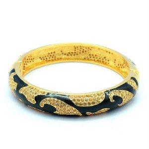 Topaz Swarovski Crystals Trendy Enamel Texture Bracelet Bangle SKCA1740-2