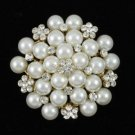 116004 Wedding Swarovski Crystals Imitation Pearl Flower Brooch Broach Pin 1.8""