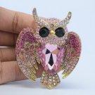 Pink Rhinestone Crystals Vintage Fly Bird Owl Brooch Broach Pin 5758