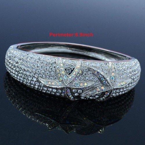 Charm Crab Clear Starfish Bracelet Bangle Cuff Swarovski Crystals Popular