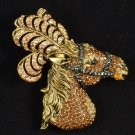"Hi-Quality Brown Feather Animal Horse Brooch Pin 2.8"" W/ Swarovski Crystals"
