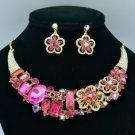 Ellipse Oblong Flower Necklace Earring Set W/ Fuchsia Rhinestone Crystals 02543