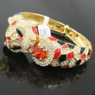 Red Panther Leopard Bracelet Bangle W/ Clear Swarovski Crystals
