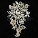 """Bridal Clear Flower Brooch Pin 4.8"""" W/ Rhinestone Crystals Fashion 4712"""