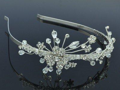 Clear Swarovski Crystals Bridal Wedding Flower Headband Jewelry Floral 26215R