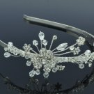 Clear Swarovski Crystals Bridal Wedding Flower Headband Jewelry Floral 26215R