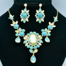 Popular Turquoise Flower Necklace Earring Sets Clear Swarovski Crystals 08401