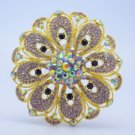 "Delicate Orb Flower Brooch Pin 4.0"" W/ Purple Rhinestone Crystals Floral"
