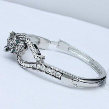 Exquisite Animal Panther Leopard Bracelet Bangle Swarovski Crystals