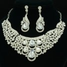Clear Drop Flower Necklace Earring Set Wedding Jewelry Rhinestone Crystals