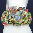 H-Quality Multicolor Swarovski Crystals Bee Flower Bracelet Bangle Cuff