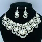 Rhinestone Crystals Clear Teardrop Flower Necklace Earring Jewelry Sets 02569