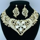 Gold Tone Heart Flower Necklace Earring Set W/ Clear Rhinestone Crystals 02537