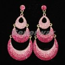 New Swarovski Crytals Pink Moon Dangle Pierced Earring