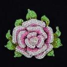 "Swarovski Crystals Dazzling Pink Rose Flower Brooch Pin 4.3"" W/ Silver Tone 3308"